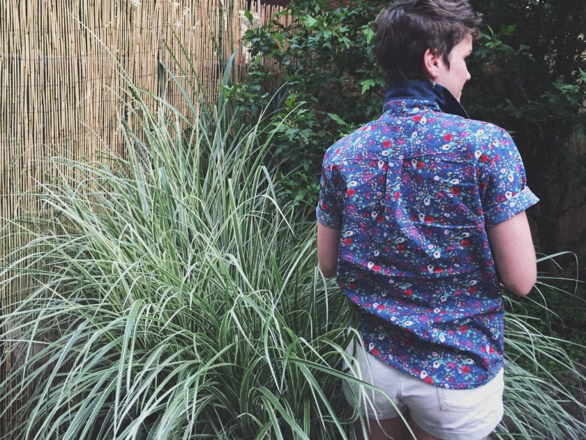 back view of archer button up shirt