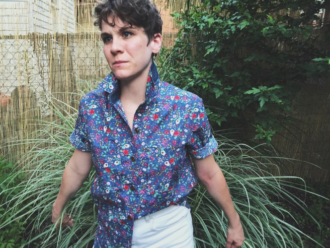 front view of archer button up shirt