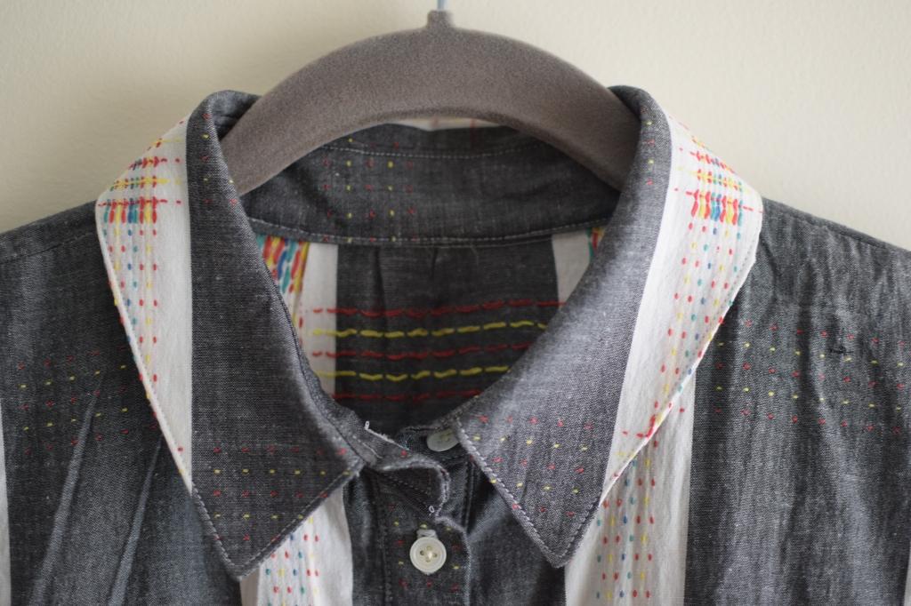 a close up of the shirtdress collar.