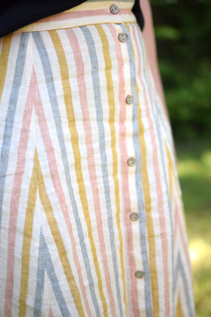 a striped Fumeterre skirt from Deer and Doe with pretty blue buttons.