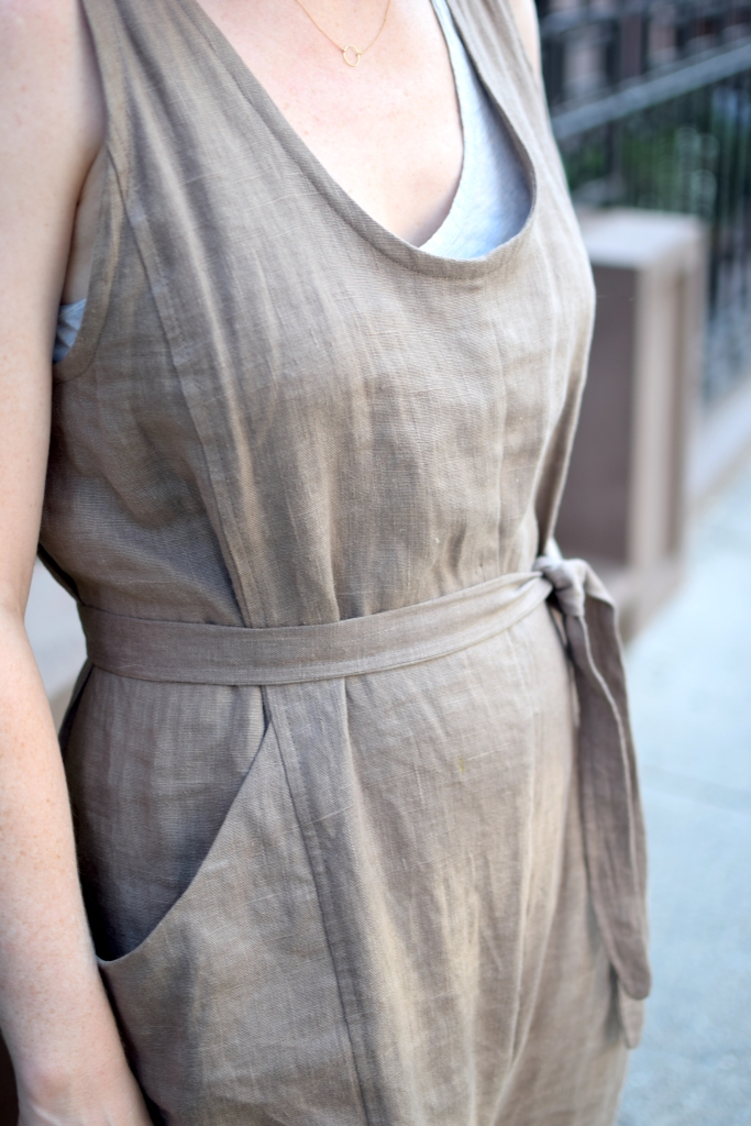 a closeup of a woman wearing a homemade elizabeth suzann clyde jumpsuit